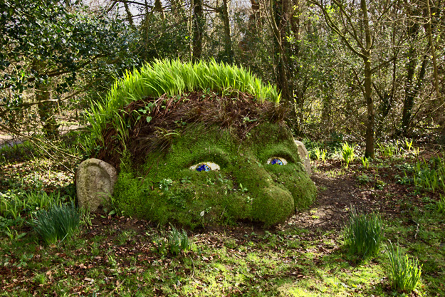 The Giant's Head, an earthen sculpture at the Lost Gardens of Heligan