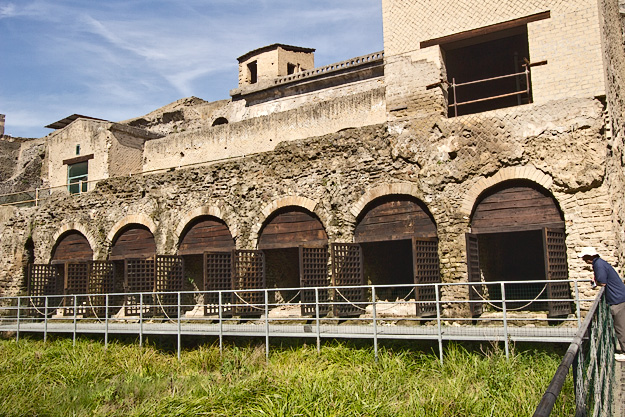 Skeletons of residents who fled to the seashore to await rescue still lie in heaps on the floors of the boathouse in the ancient Roman town of Herculaneum