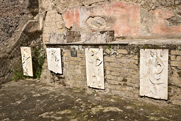 Recently discovered reliefs of the four gods worshiped at Herculaneum: Neptune, Mercury, Minerva, and Volcano