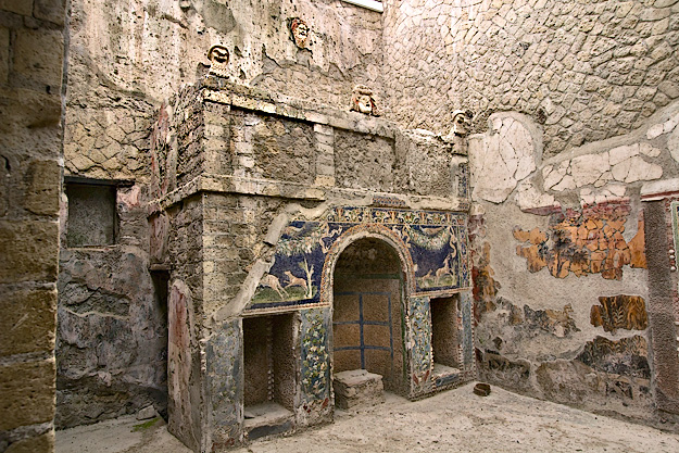 Glass paste mosaics decorate this fireplace in the House of Neptune and Amphitrite