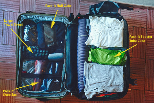 """Eagle Creek 25"""" Tarmac AWD, opened and alid flat, showing placement of packing tubes and cubes"""