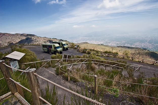 Big green truck/buses carry visitors to trail head for a 20-minute hike to the rim of Mount Vesuvius