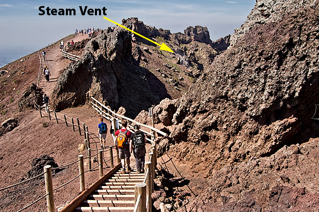 Trail leads around rim of the volcano, providing excellent views of steam vents within the caldera
