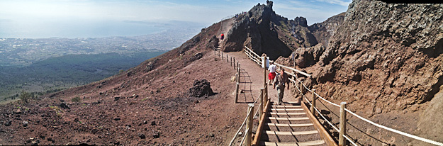 Panoramic view from atop Mount Vesuvius, showing surrounding areas where more than 3 million people live, making this the most dangeros active volcano in the world