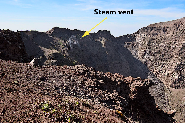 Steam still rises from vents within the caldera