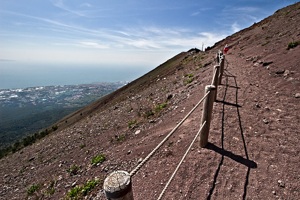 Walking the trail up to the rim of Mount Vesuvius Italy