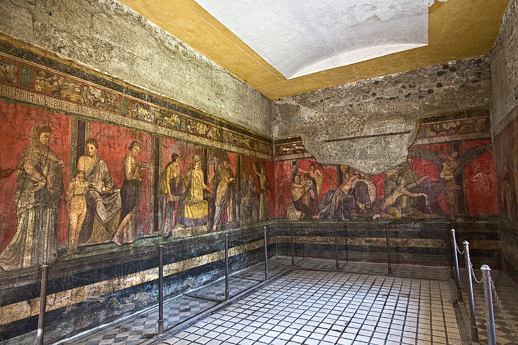 Frescoes in the Villa dei Misteri at Pompeii is notable for the extensive frescoes that survived the eruption of Mount Vesuvius in 79 AD. Though their purpose has been hotly debated, the consensus is that they were used to instruct young women about to be married