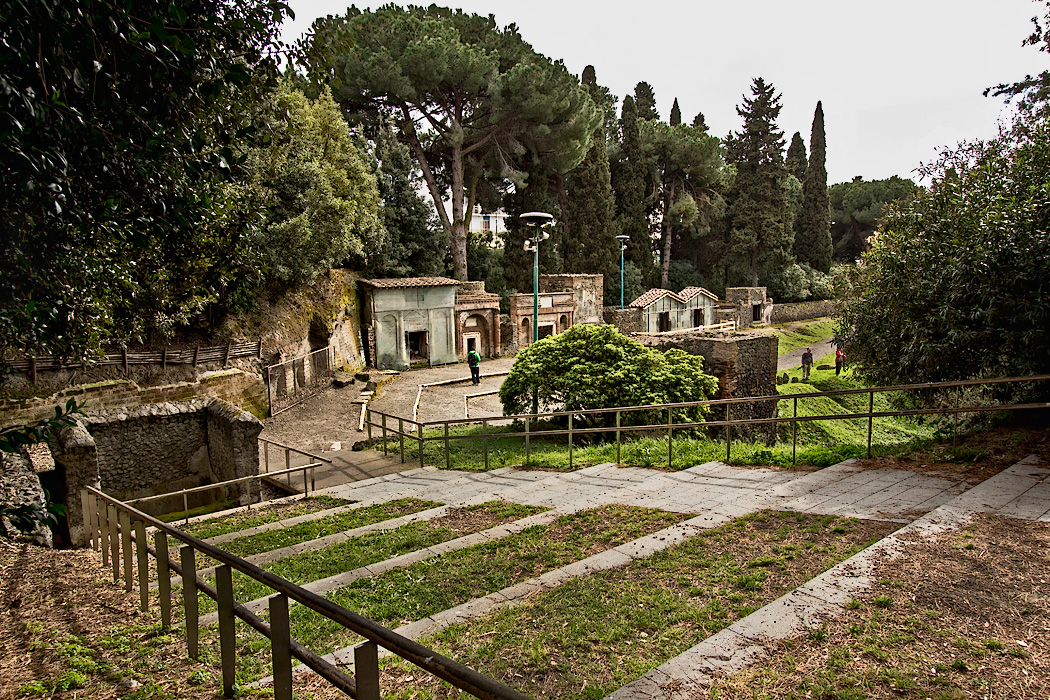 Tombs in the Necropolis at Porta Nocera in Pompeii, one of seven burial areas found in the town that was buried by the eruption of Mount Vesuvius in 79 AD