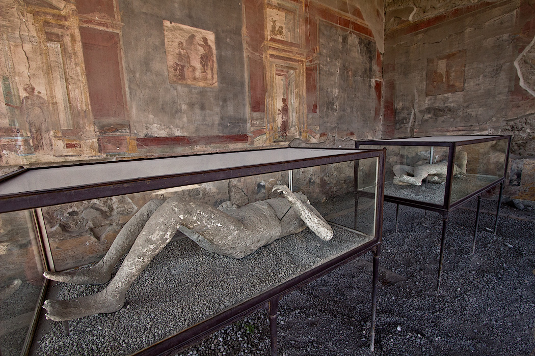 Plaster casts of bodies found during excavations of Pompeii. These were discovered in the Macellum, a large marketplace located aside the Forum