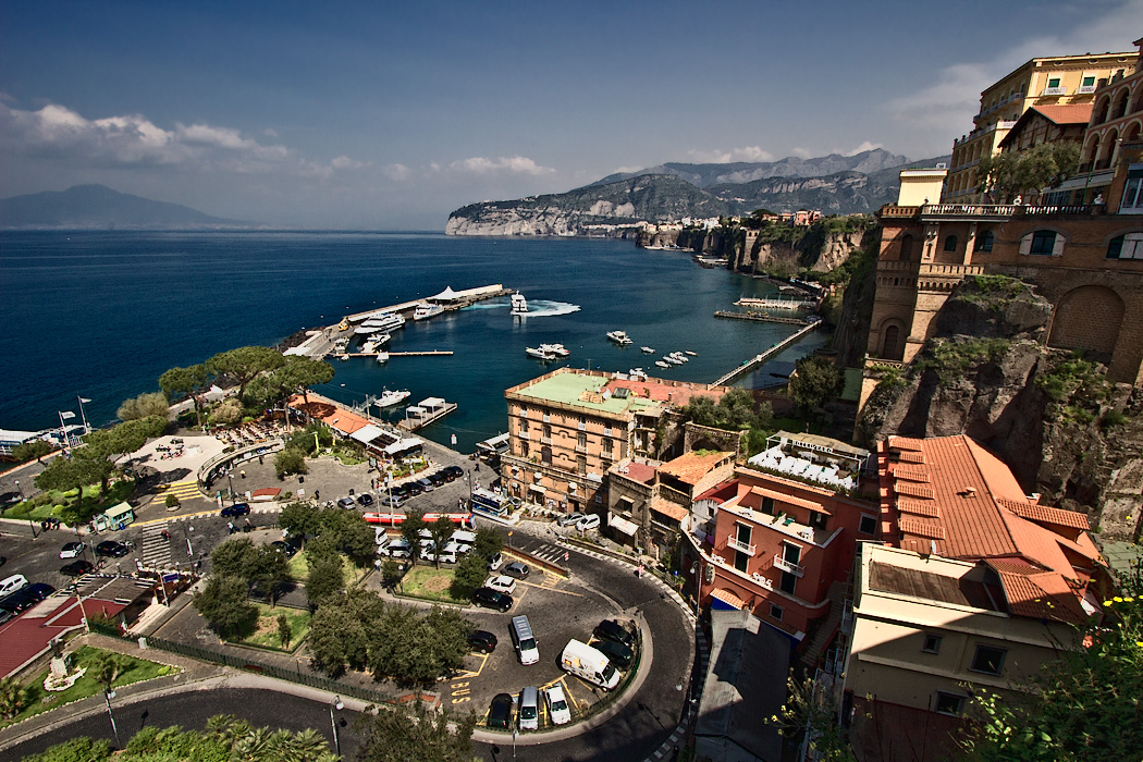 Marina Piccola and the cliffs in the lower level of Sorrento, Italy