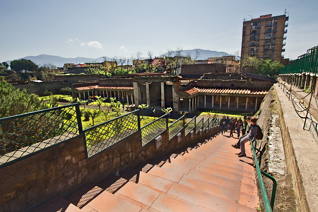 Villa di Oplontis, more commonly referred to as Villa di Poppaea, was owned by Emperor Nero and used by his notorious second wife, Poppaea Sabina. Like Pompeii and Herculaneum, it was buried by the eruption of Mount Vesuvius in 79 AD