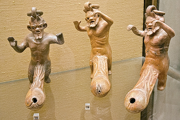 Terracotta figures that represent god of fertility, Priapus