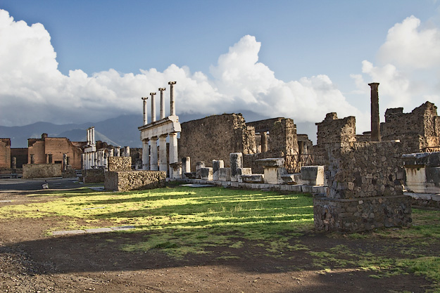 Large open space in the Forum marketplace was surrounded by the most important buildings in Pompeii