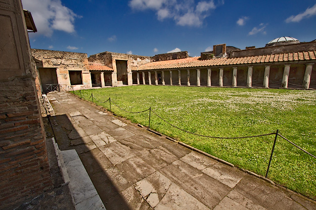 The Palestra at the Stabian Baths in Pompeii, where bathers exercised prior to using the facilities