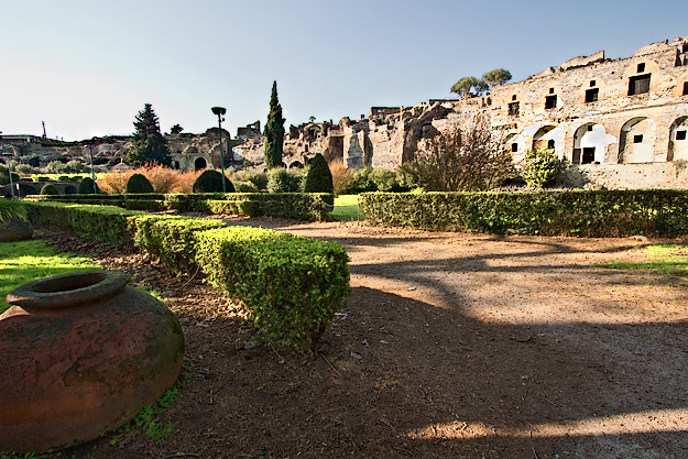 Unexpectedly, the ruins at Pompeii perch atop a hill, rather than within a deep excavation pit