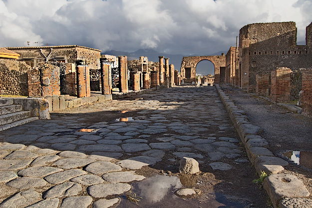 One of the main streets in Pompeii, leading away from the Forum market square