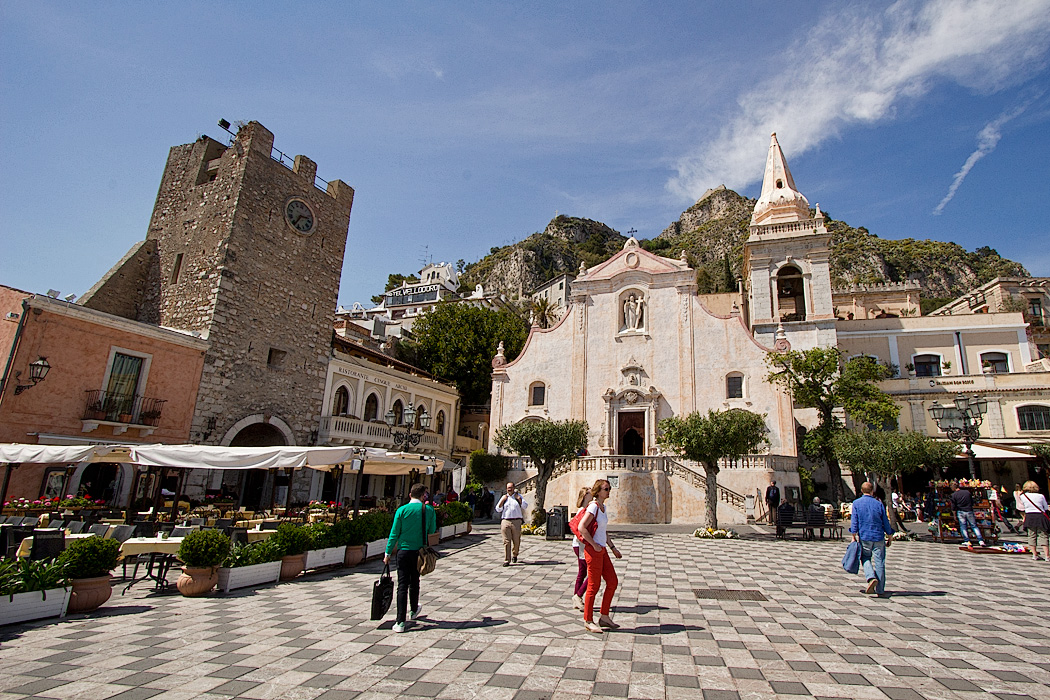 Clock Tower and San Guiseppe Church on Piazza IX Aprile in Taormina, Sicily