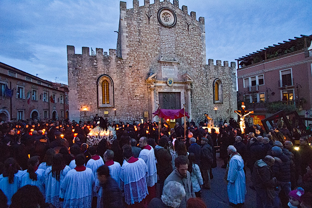 Good Friday Procession participants from all Taormina churches meet at the Duomo (Catholic Cathedral)