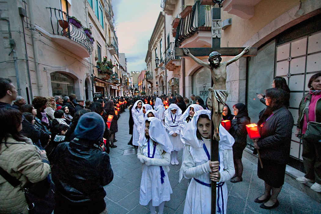 Good Friday procession though the streets of Taormina, Sicily