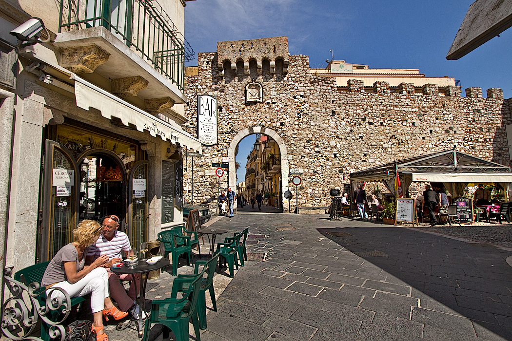 Porta Catania, one of the original city gates that led into the hilltop town of Taormina, Sicily