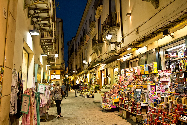 Typical tourist shopping street in Sorrento Italy