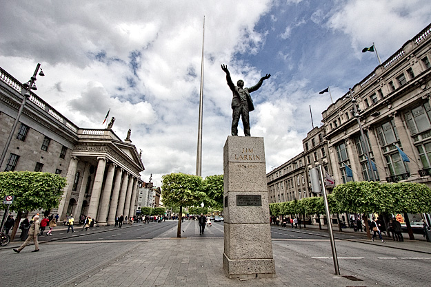 The Spire of Dublin and Jim Larkin statue on O'Connell Street