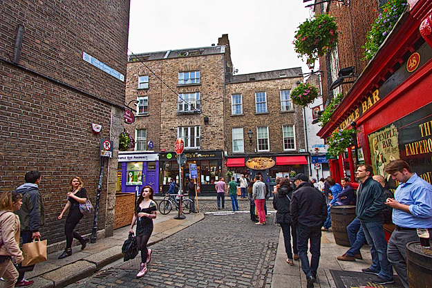 Temple Bar, where everyone goes to party in Dublin