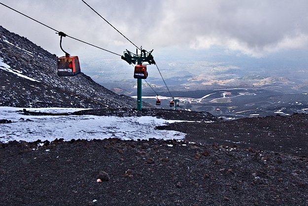 Cable car carries visitors up Mount Etna, the tallest active volcano in Europe