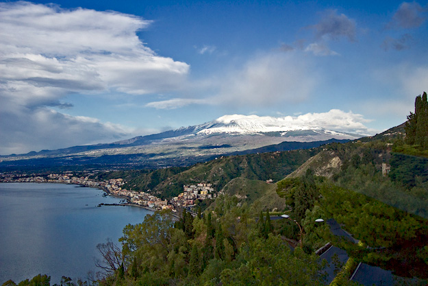 Mount Etna dminates the skyline of eastern Sicily