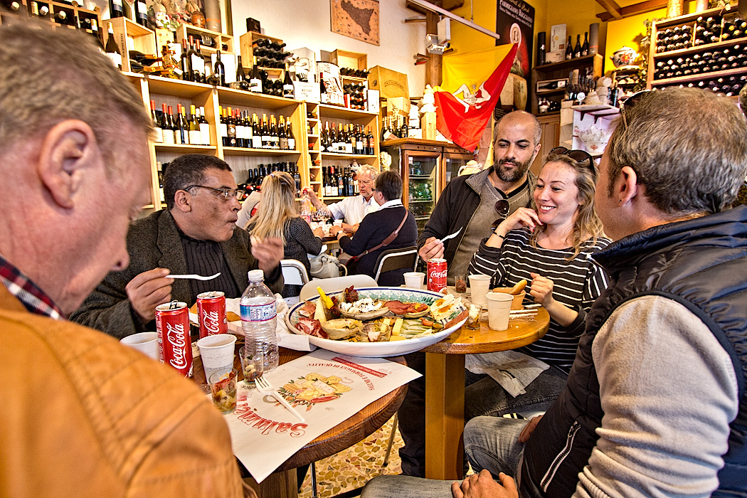 Antipasti in the old town of Syracuse, Sicily