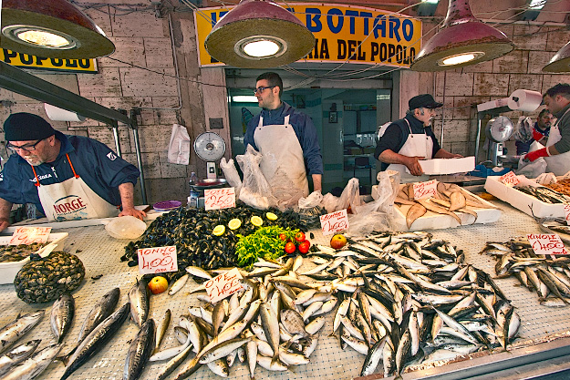 Fresh caught fish at the market in Syracuse, Sicily