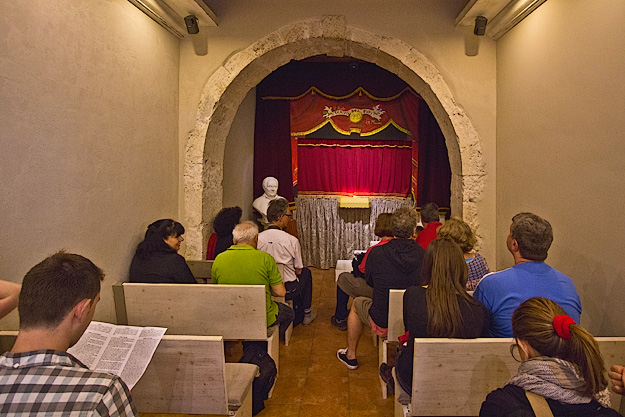 Tiny stage at Teatro dei Pupi in Syracuse, Sicily