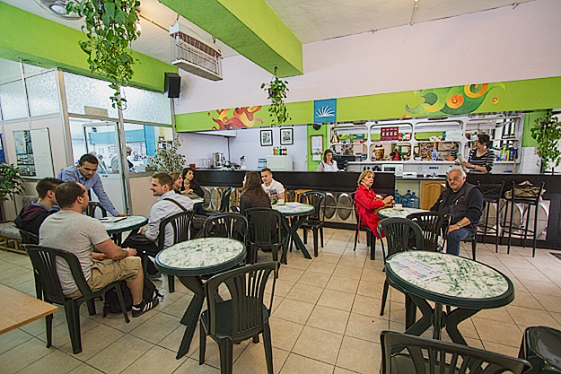 Break room at ElanGuest English Language School, where students relax with espresso drinks between sessions