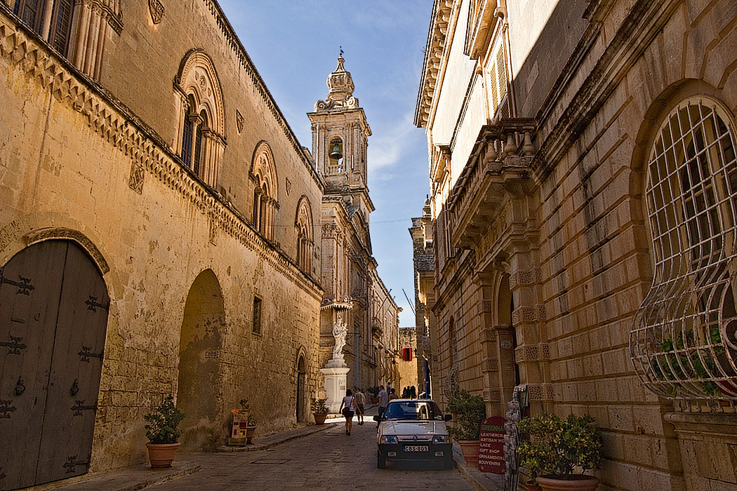 Palaces and church inside the walled city of Mdina, which was at one time the capital of Malta