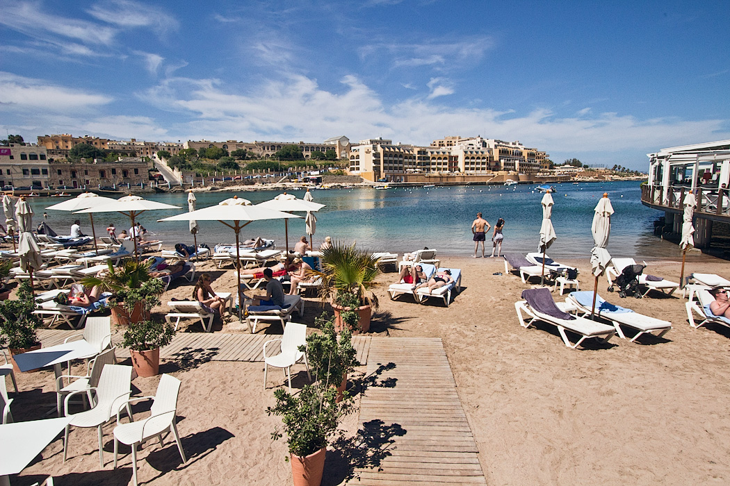 Beach in Paceville, Malta