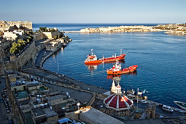 View of the Grand Harbour from Upper Barrakka Gardens in Valletta