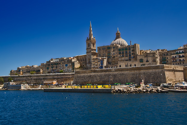 Valletta skyline from Marsamxett Harbour in Sliema, dominated by St. Paul's Anglican Cathedral