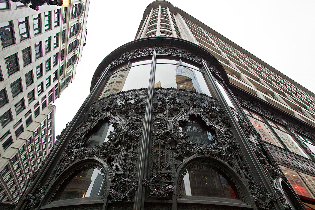 Bronze-plated cast-iron ornamental work of the Sullivan Center, formerly the Carson, Pirie, Scott and Company Building on State Street in downtown Chicago