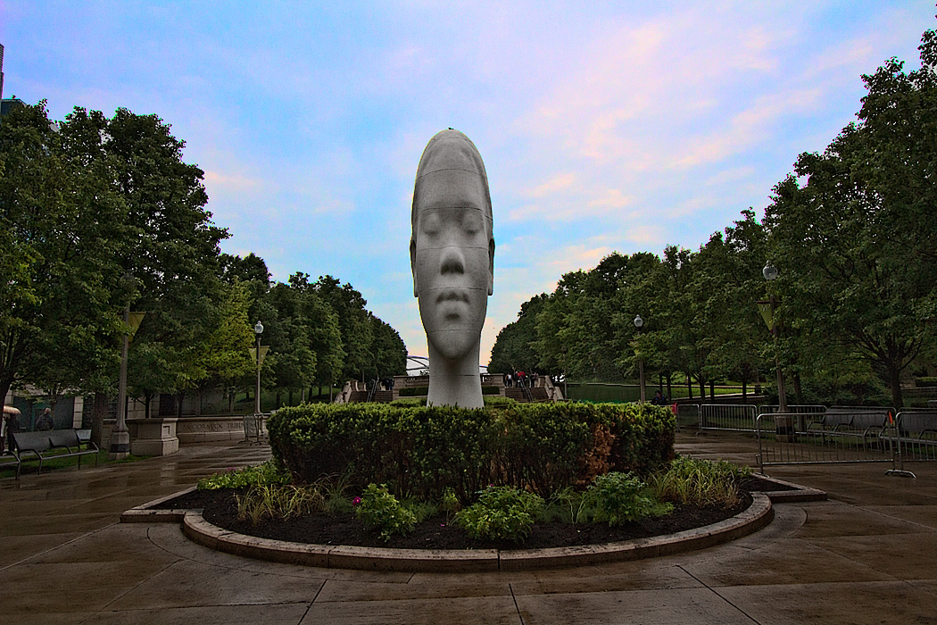 This Jaume Plensa sculpture was unveiled on the 10th anniversary of the Crown Fountain, in Chicago's Millennium Park