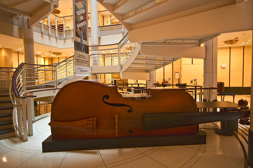 Bass fiddle shaped bar on the ground floor of the Chicago Symphony Orchestra in downtown Chicago