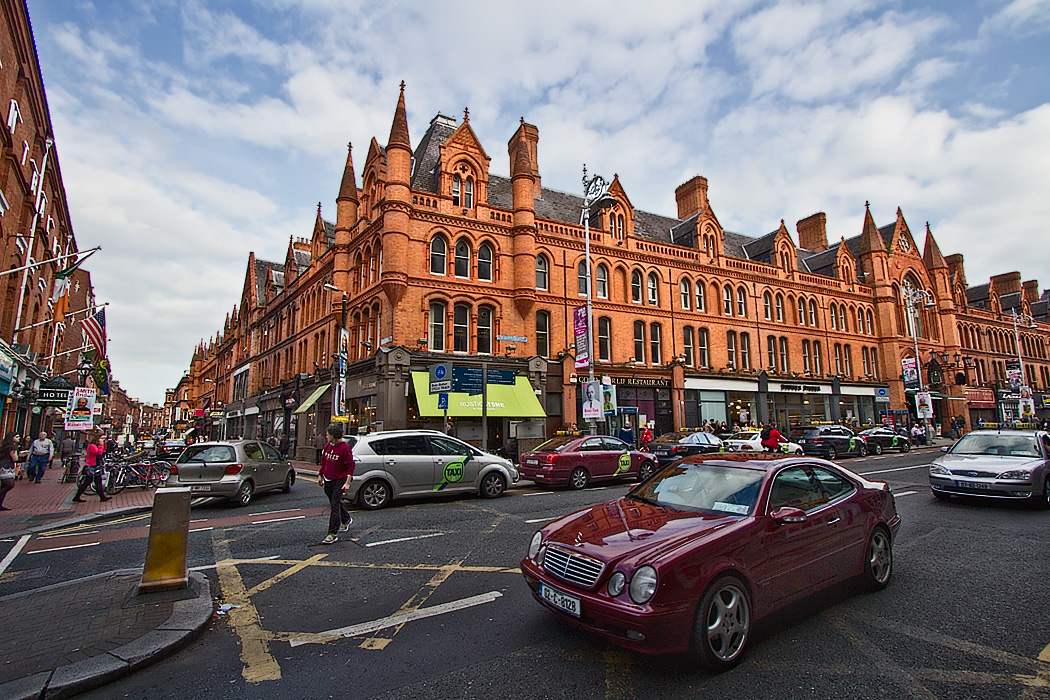 Victorian style red-brick building on South Great George's Street in Dublin, Ireland is home to George's Street Arcade, an indoor market of stalls and stores that opened in 1881