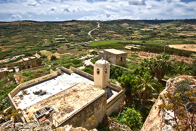 Quilted farmlands of Gozo in the Maltese Islands