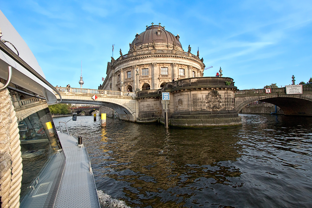Cruise on the River Spree at tip of Museum island with Bode Museum