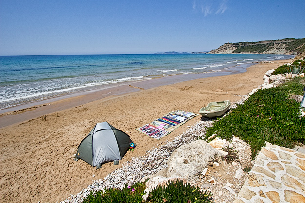 In May, the beach in Arillas was all but deserted and the sushine was brilliant