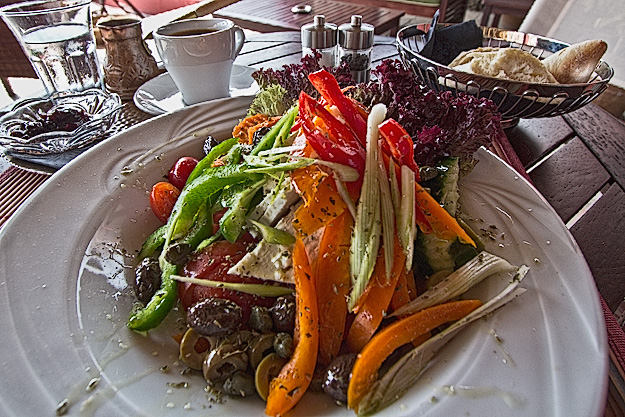 A salad to swoon over at Ammos Beach Bar & Cafe in Arillas