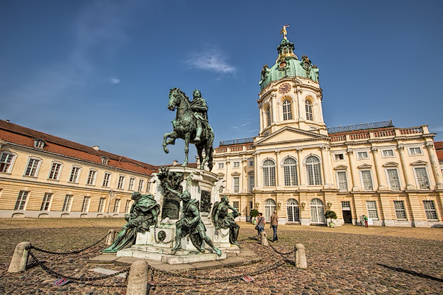 Charlottenburg Palace, severely damaged by bombing during WWII, has been restres and is open to the public