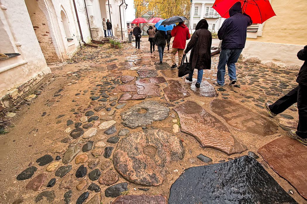 During the Communist era, gravestones used for paving stones at the Belozersky Monastery in Kirillo, Russia