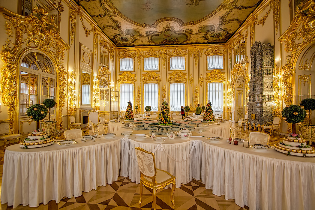 Large dining room with Marzipan display at Catherine Palace St Petersburg, Russia