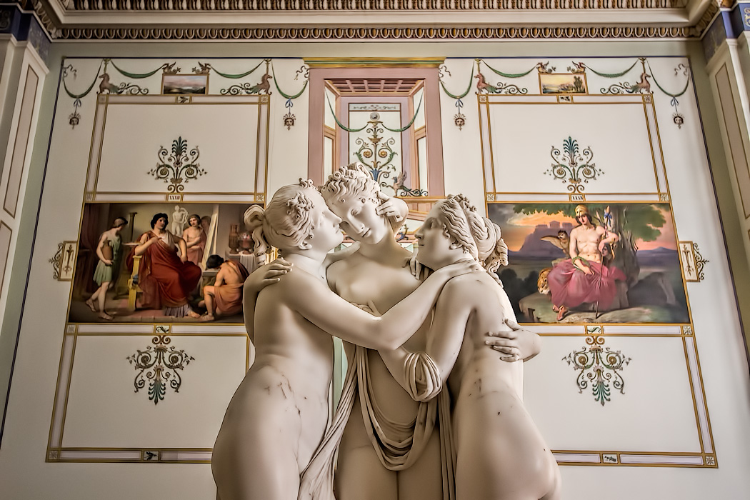 """Antonio Canova's sculpture """"The Three Graces"""" in the Hermitage Museum in St. Petersburg, depicts the three daughters of Zeus, said to represent beauty, charm and joy"""
