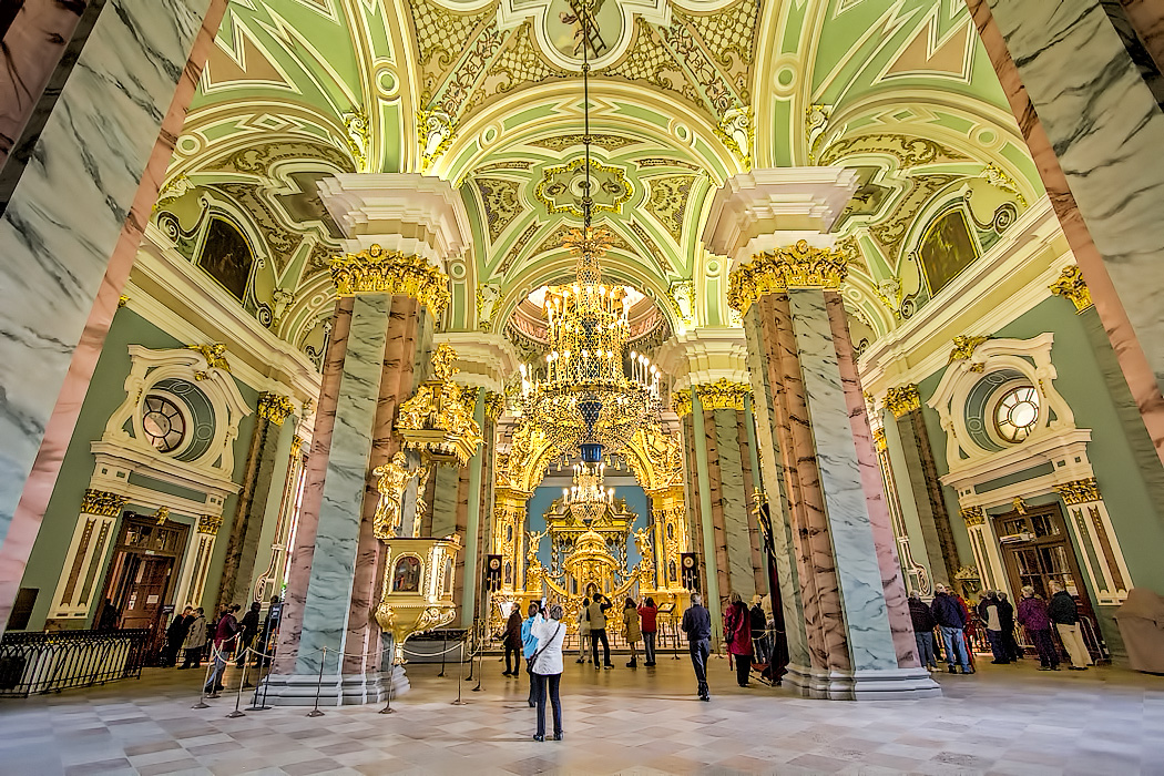 Interior of Saints Peter and Paul Cathedral at Saint Peter and Paul Fortress in St. Petersburg, Russia